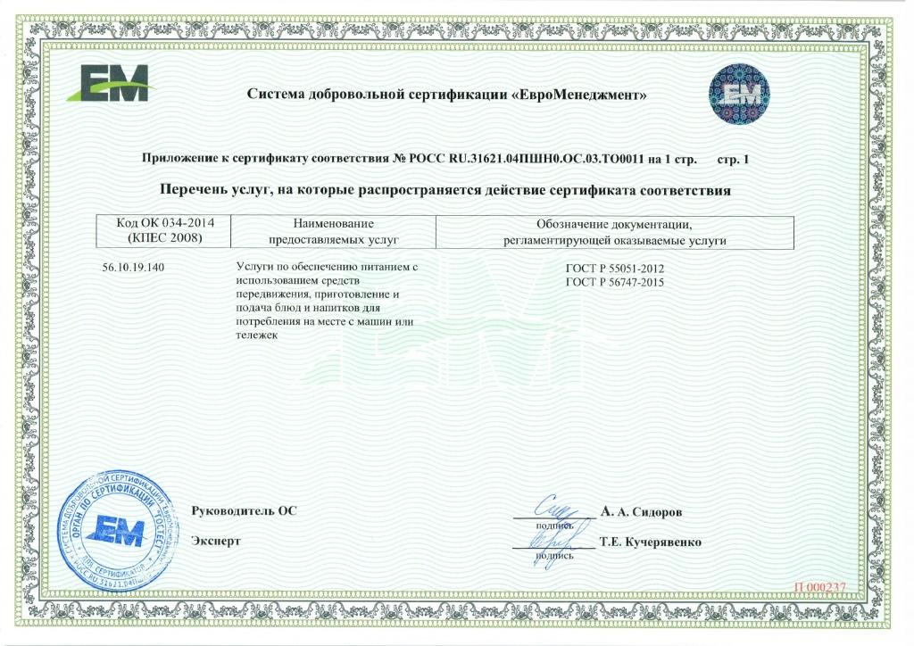 8 сертификация услуг общественного питания получение жилищного сертификата военным пенсионером